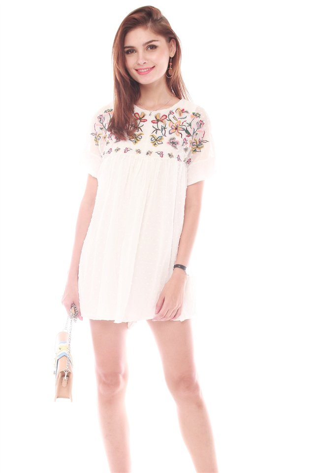 *BACK IN STOCK* Embroidery Panel Babydoll Romper in White