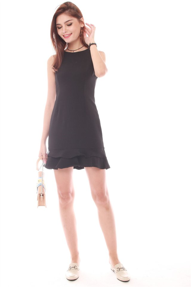 *Backorder* Double Drop Hem Work Dress in Black