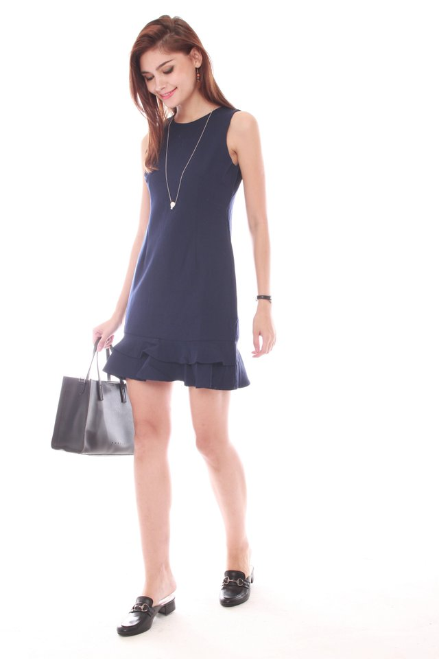 Double Drop Hem Work Dress in Navy