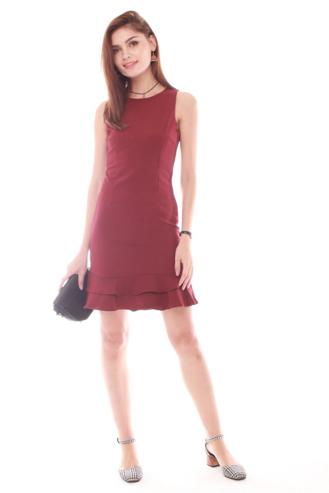 *Backorder* Double Drop Hem Work Dress in Wine