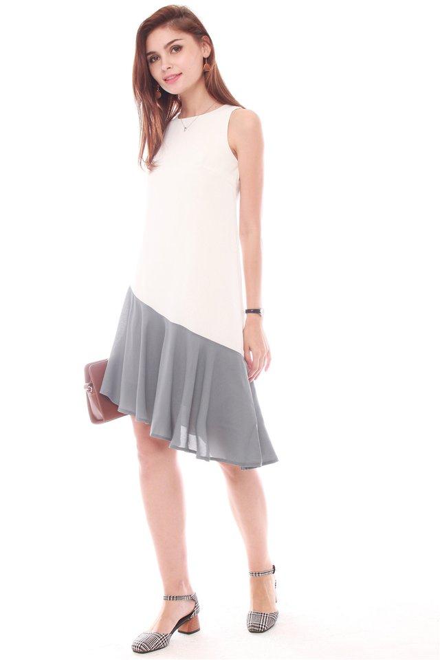 Asymmetrical Colourblock Hem Midi Dress in White-Ash Blue