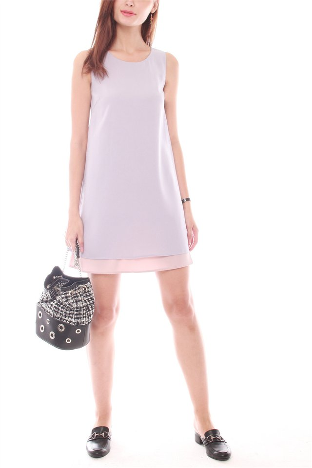 Reversible Two Tone Shift Dress in Dusty Grey-Dusty Pink