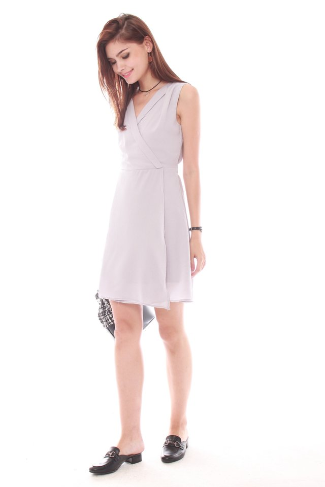 ACW Front Wrap Work Dress in Dusty Grey