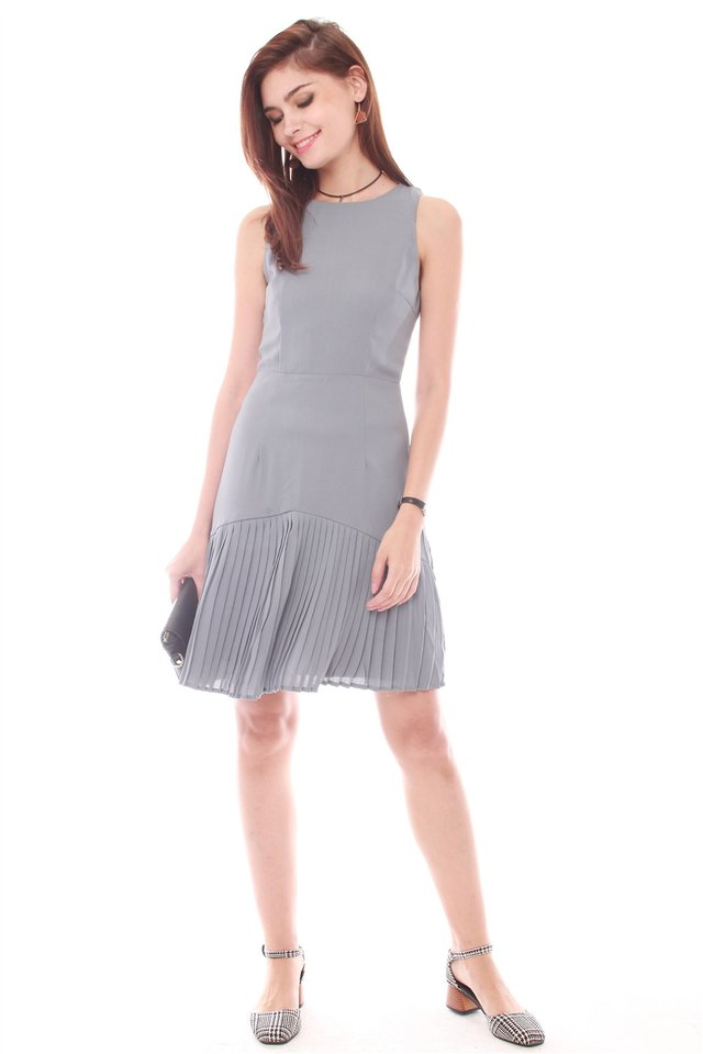 Inverted Pleats Work Dress in Ash Blue