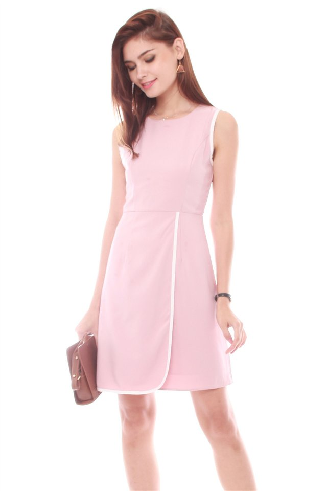 Piping Sash Tie Work Dress in Dusty Pink