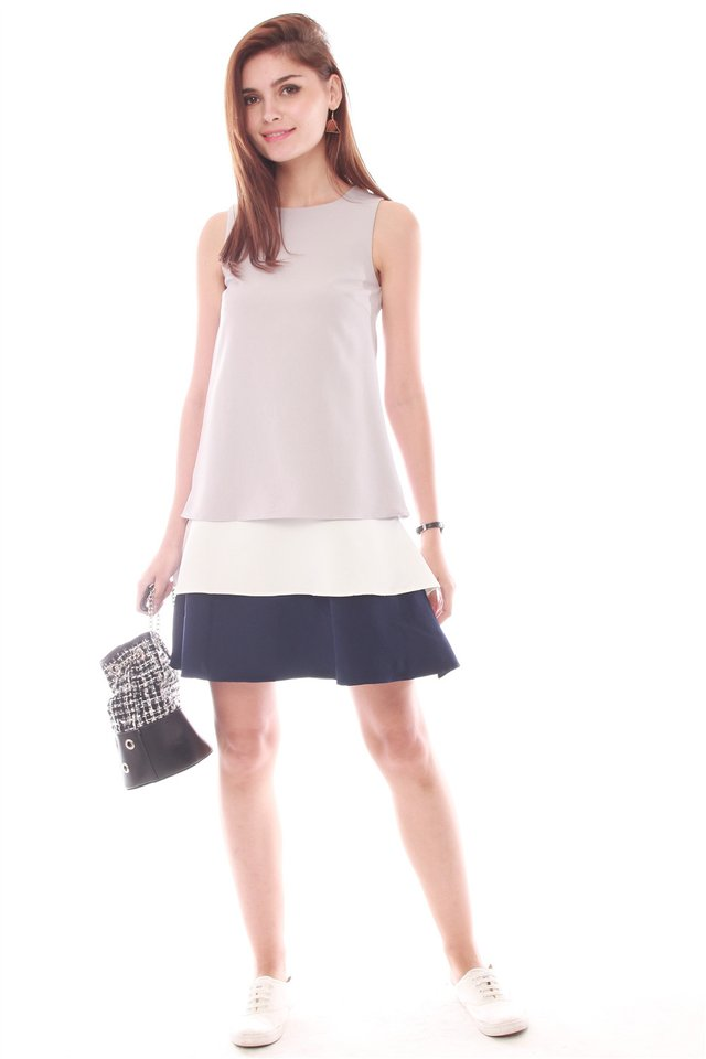 Triple Layered Dress in Light Grey