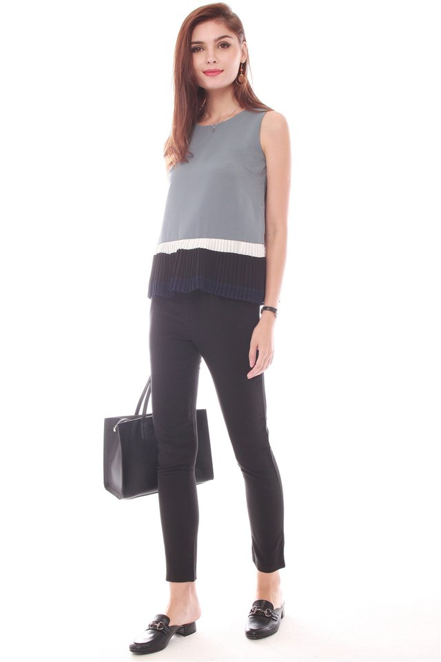 Triple Pleated Top in Ash Blue