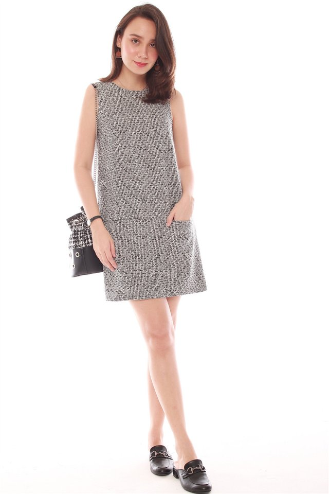 Structured Tweed Pocket Shift Dress in Dark Grey