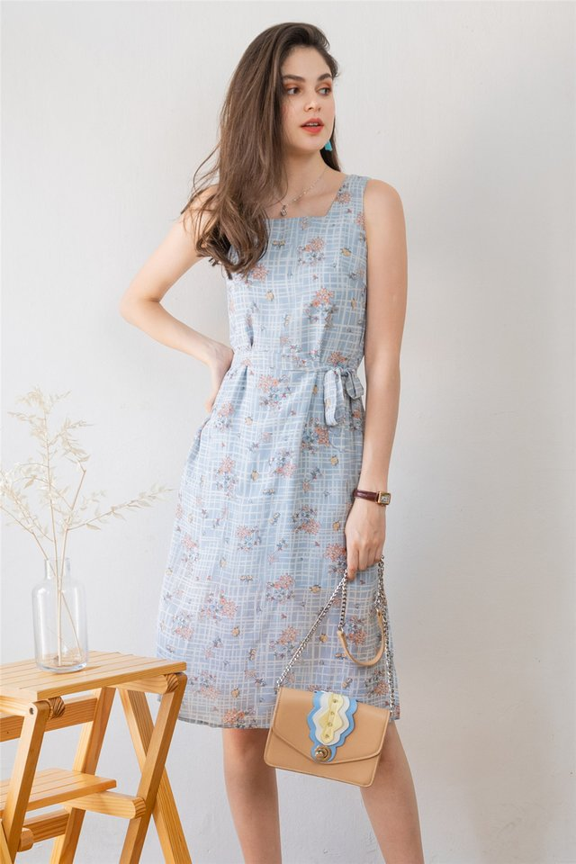ACW Blue Grid Flora Square Neck Sash Midi Dress
