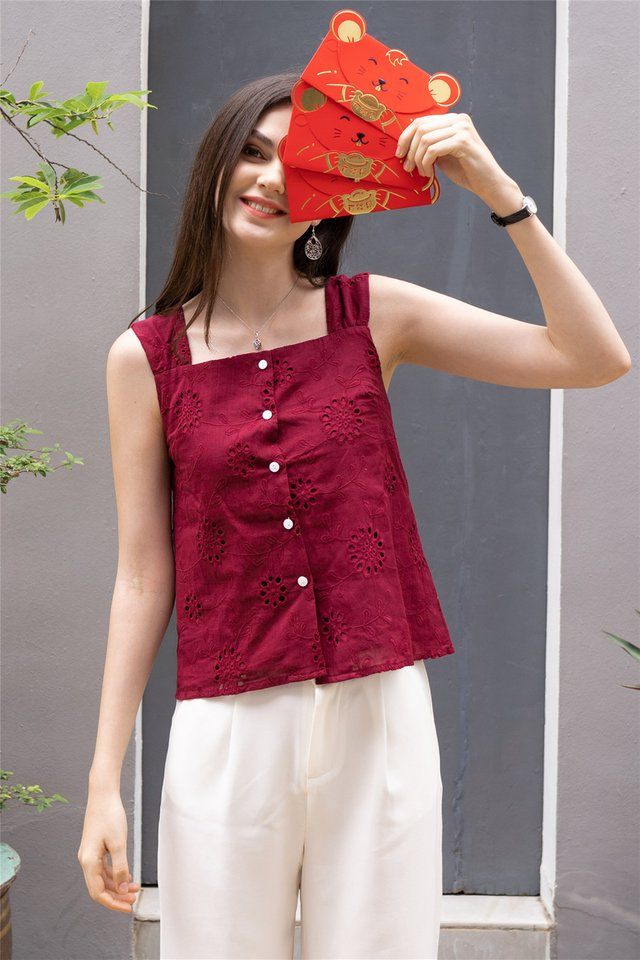 ACW Crotchet Detail Button Down Top in Wine