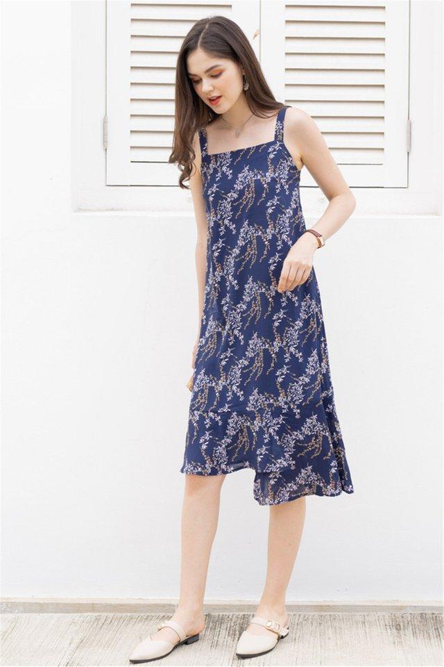 ACW Tiered Hem Midi Dress in Navy Wheat Florals