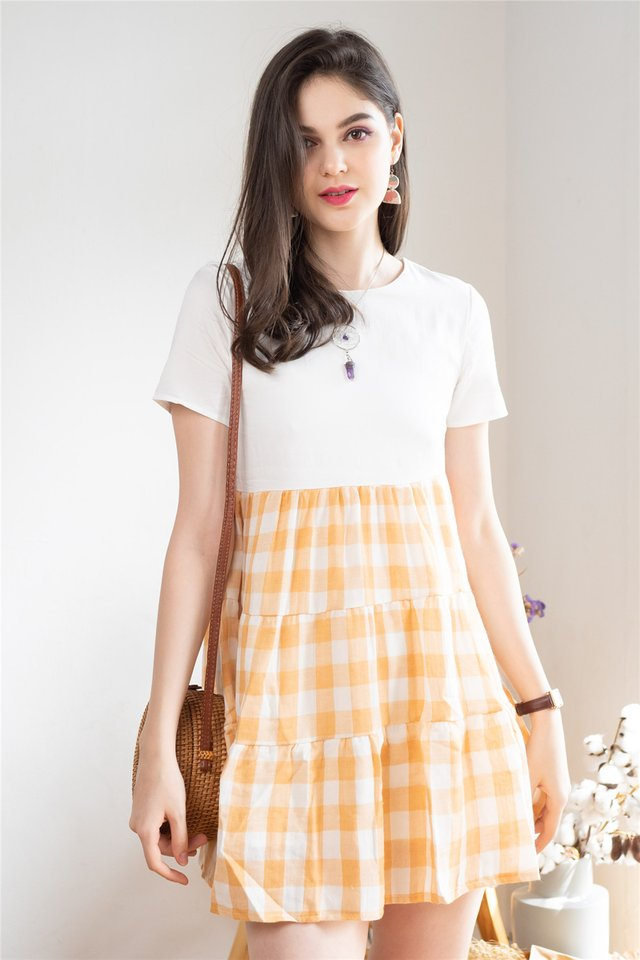 ACW Coloured Gingham Tiered Babydoll Dress in Marigold