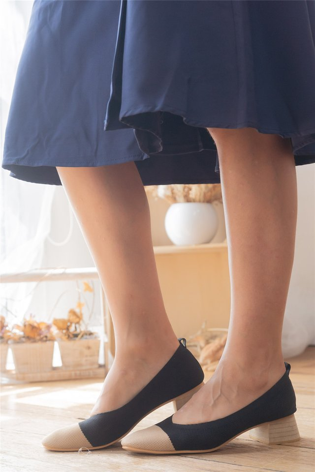 Jersey Cotton Colourblock Heels in Black