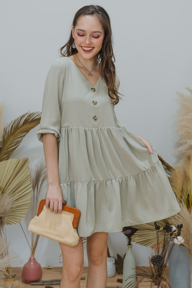 ACW Sleeved Button Tier Babydoll Dress in Matcha