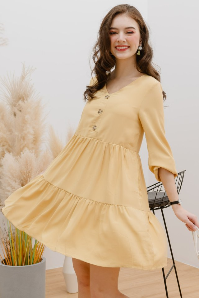 ACW Sleeved Button Tier Babydoll Dress in Daffodil