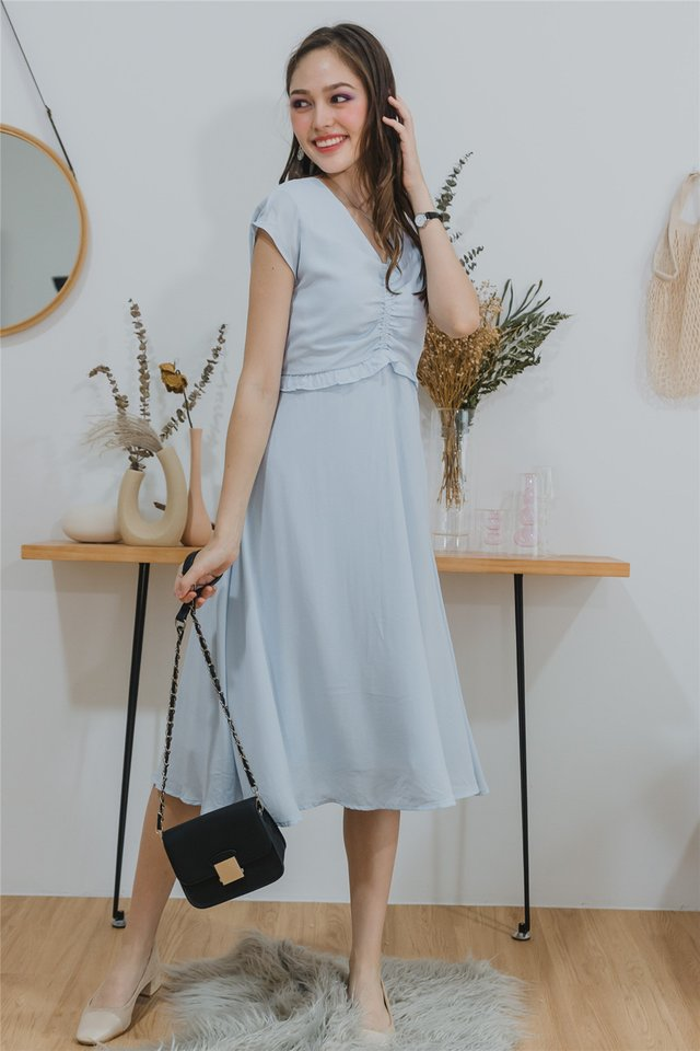 ACW Ruched Front Twisted Midi Dress in Powder Blue
