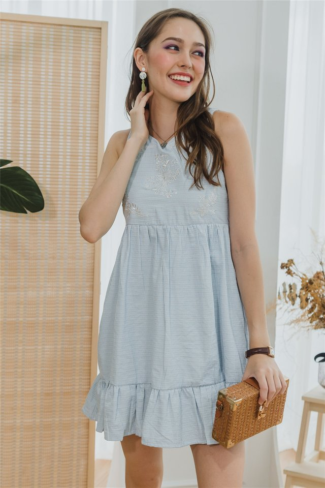 ACW Drop Hem Embroidery Babydoll Dress in Pinstripes