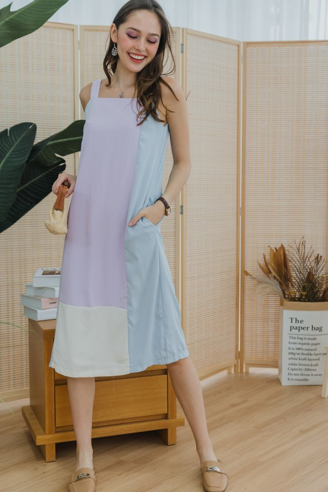 ACW Tri Colourblock Midi Dress in Lavender