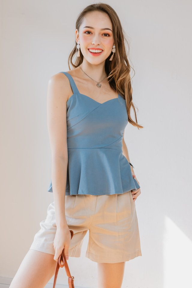 Peplum Stretchy Top in Dusk Blue