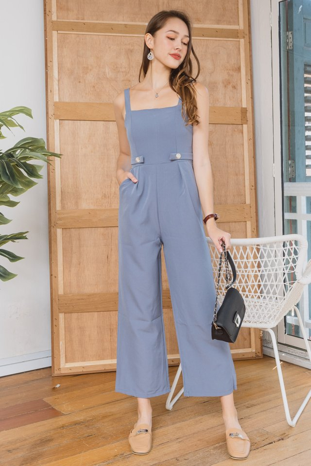 ACWxClara Duo Button Jumpsuit in Ash Blue
