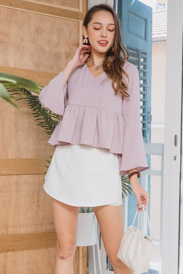 ACWxClara Bell Sleeve Babydoll Top in Blush