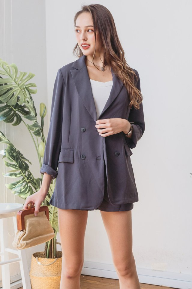 *BACK IN STOCK* Two Piece Blazer-Shorts Set in Dark Grey