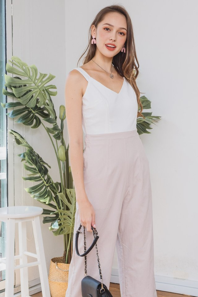 ACW V Neck Strap Jumpsuit in White-Sand
