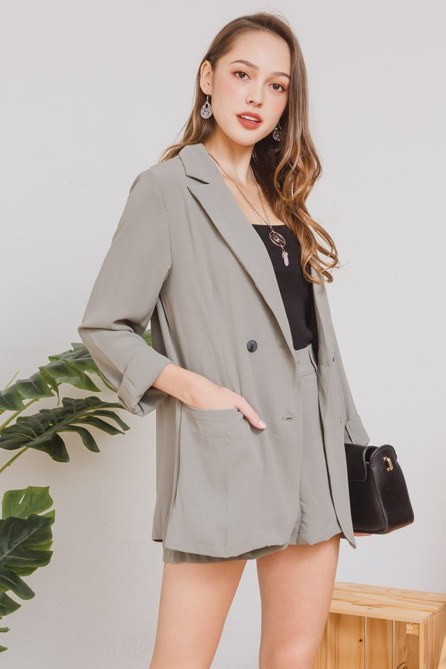 *BACK IN STOCK* Two Piece Blazer-Shorts Set in Olive
