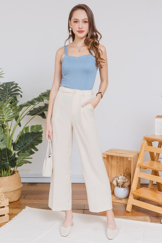Basic Bustier Knit Top in Sky Blue