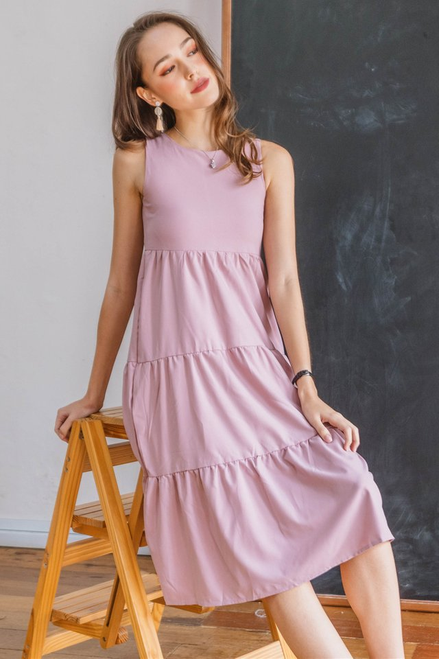 ACW Double Tiered Midi Dress in Blush