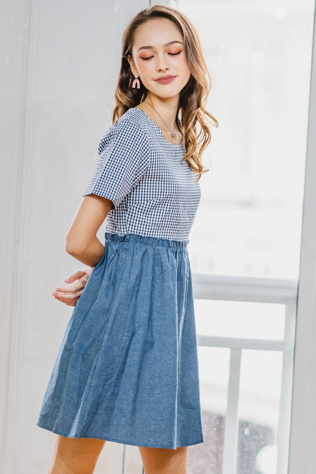 Gingham Denim Babydoll Dress in Blue
