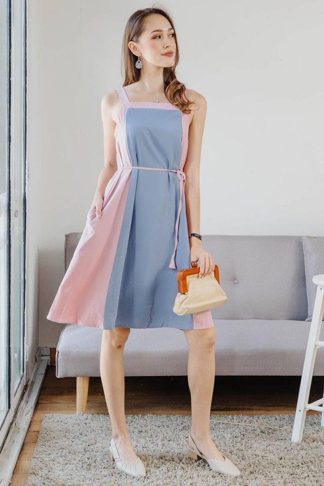 ACW Colourblock Tassel Sash Midi Dress in Dusty Blue