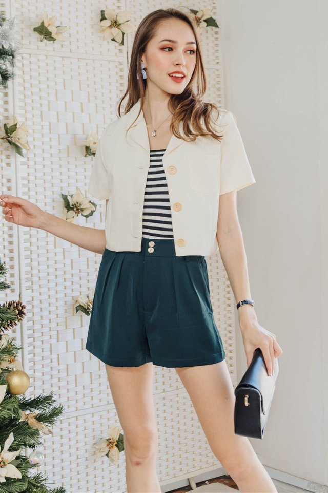 ACW Duo Button Pocket High Waist Shorts in Emerald