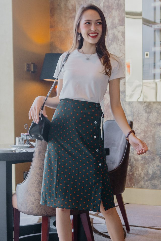 ACW Polka Dot Sash Midi Skirt in Emerald