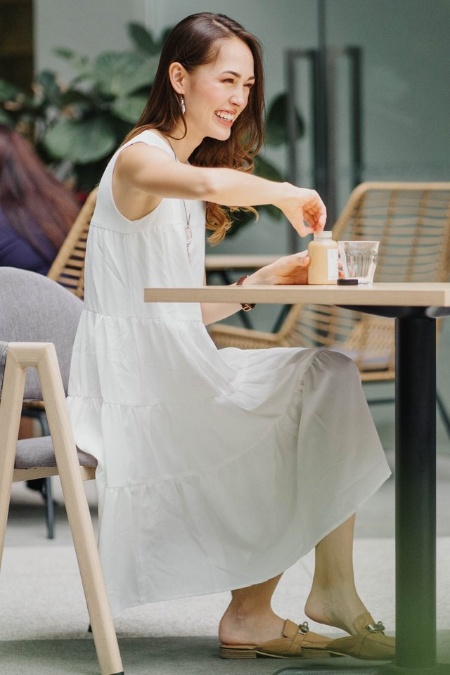 ACW Tier Layered Midi Dress in White