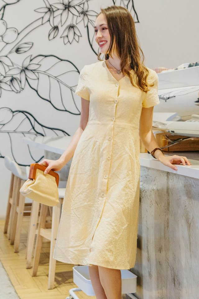 ACW Eyelet Lace Button Midi Dress in Daffodil