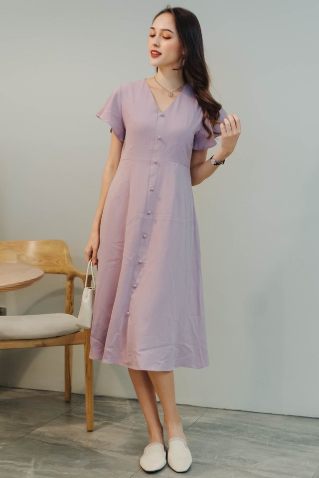ACW Button Panel Flutter Sleeve Midi Dress in Lavender