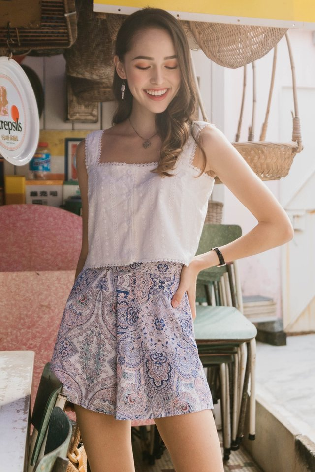 *BACK IN STOCK* ACW Paisley Pocket Flare Shorts in Lilac