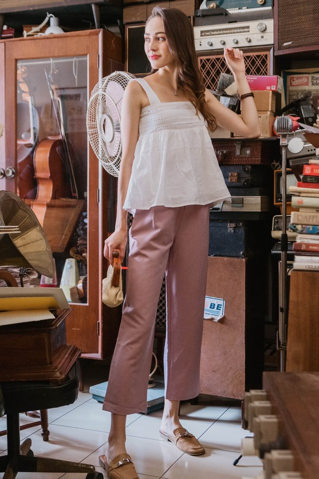 ACW Straight Cut High Waisted Trousers In Blush