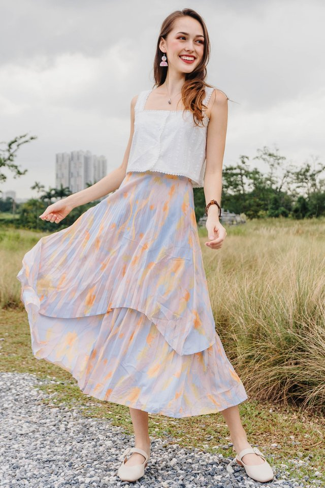 ACW Ombre Rainbow Tiered Midi Skirt