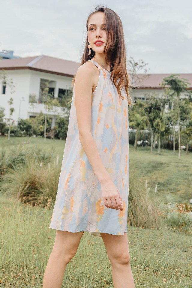 ACW High Neck Sash Swing Dress in Ombre Rainbow