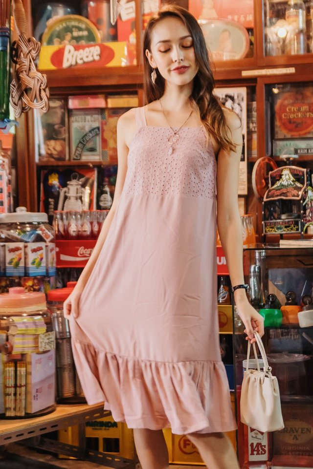 ACW Eyelet Panel Drop Hem Midi Dress in Blush
