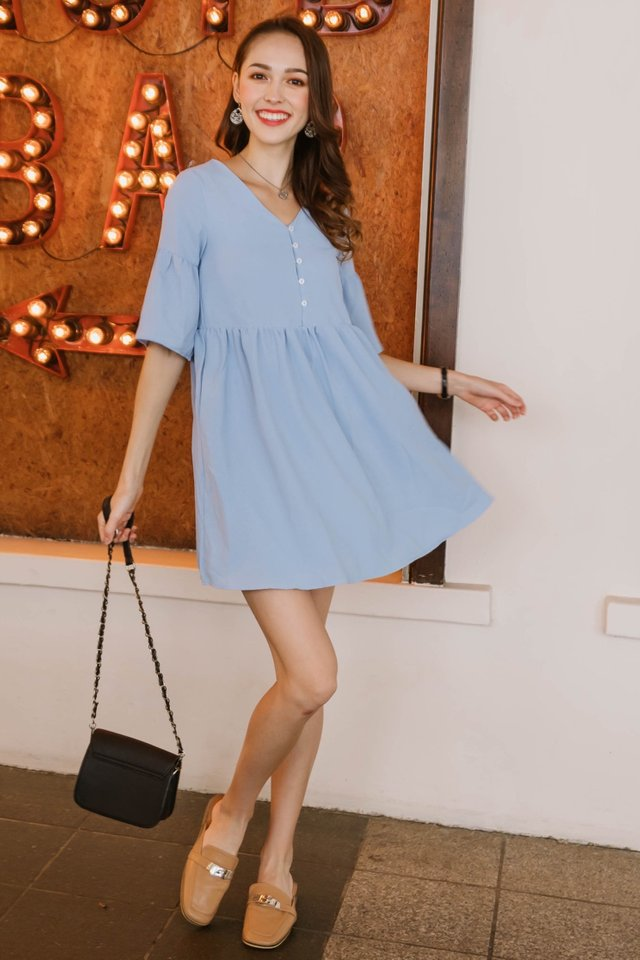 ACW Bell Sleeve Babydoll Dress in Powder Blue
