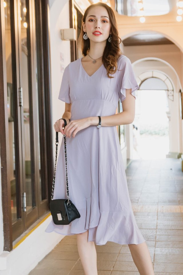 ACW Asymmetric Hem Ruched Midi Dress in Lilac