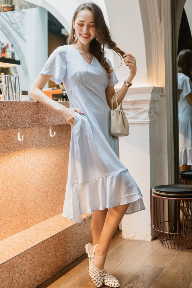ACW Asymmetric Hem Ruched Midi Dress in Powder Blue