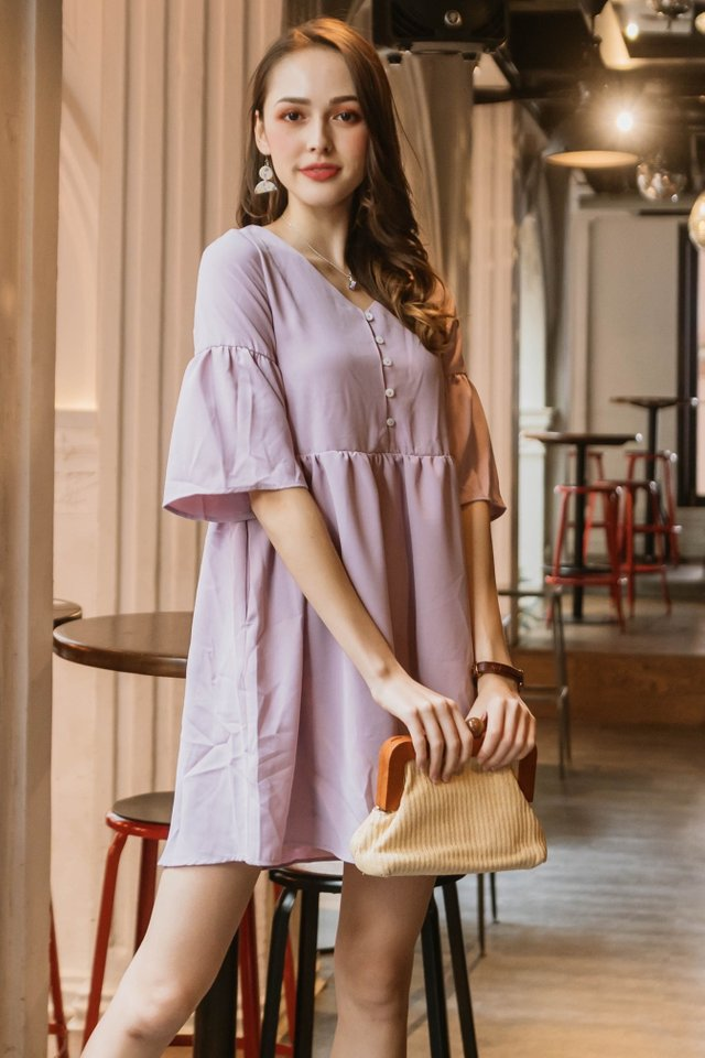 ACW Bell Sleeve Babydoll Dress in Lavender