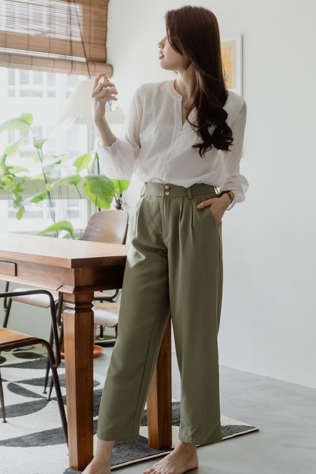 ACWxNatalie Duo Button Pocket Trousers in Olive