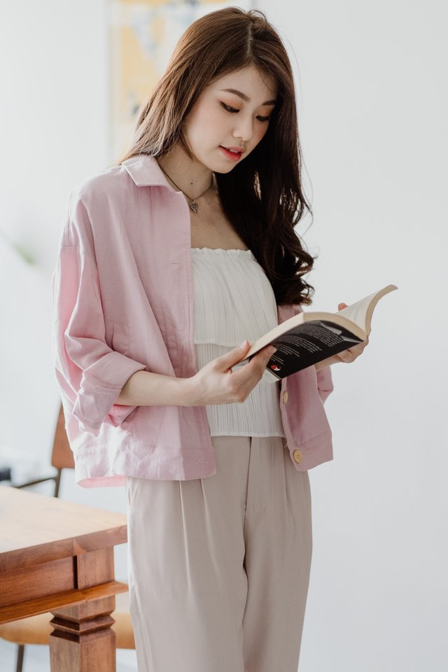 ACWxNatalie Structured Button Down Jacket in Blush