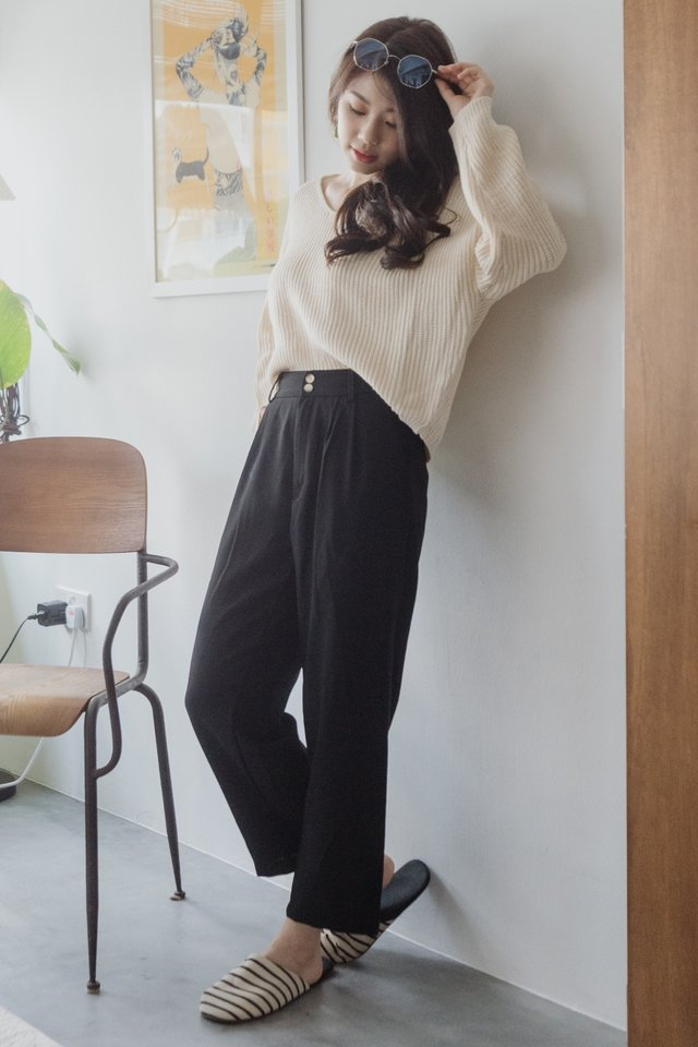 *Backorder* ACWxNatalie Duo Button Pocket Trousers in Black