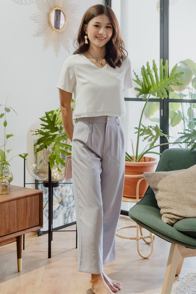 ACWxNatalie Duo Button Pocket Trousers in Dusty Grey